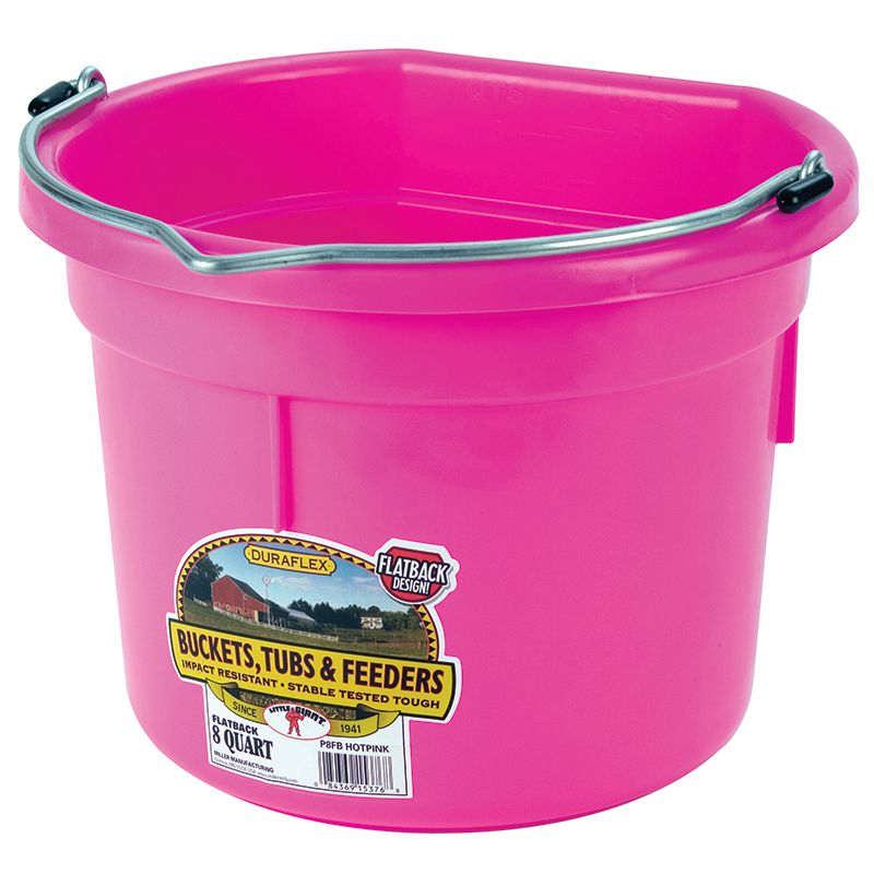 Little Giant 8 Quart Hot Pink Flat Back Plastic Bucket