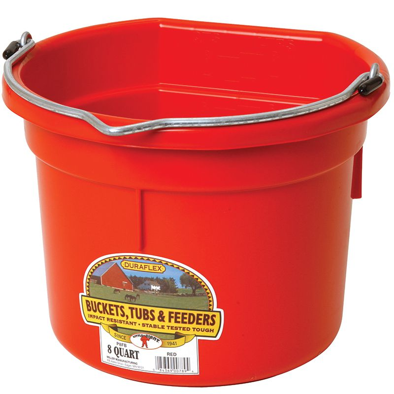 Little Giant 8 Quart Red Flat Back Plastic Bucket