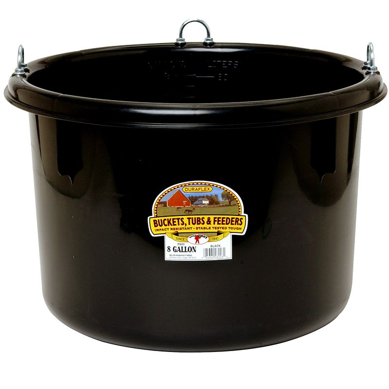Little Giant Black 8 Gallon Plastic Round Feeder