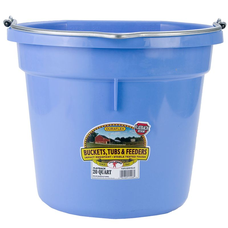 Little Giant 20 Quart Berry Blue Flat Back Plastic Bucket