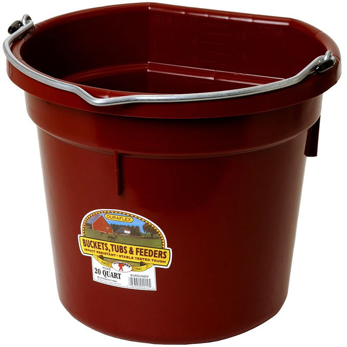 Little Giant 20 Quart Burgundy Flat Back Plastic Bucket