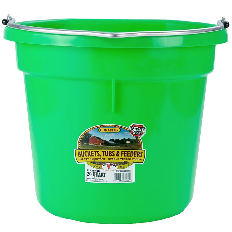 Little Giant 20 Quart Lime Green Flat Back Plastic Bucket