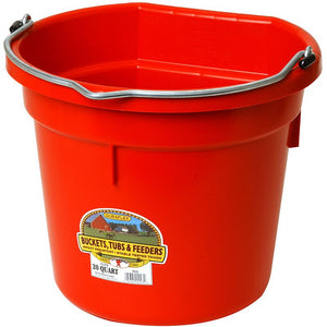 Little Giant 20 Quart Red Flat Back Plastic Bucket