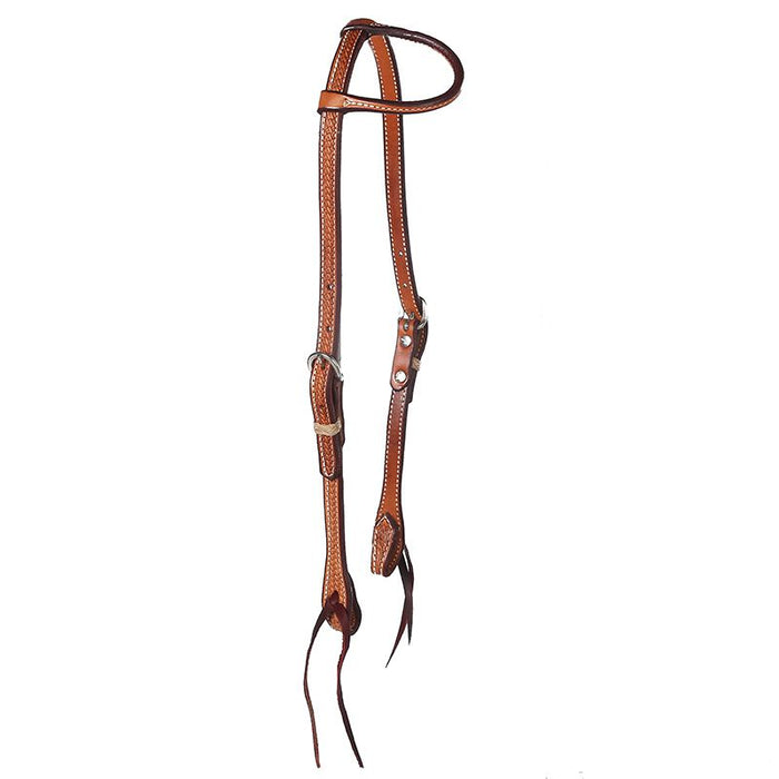 Basket Stamped Single Ear Headstall  with Tie Bit Ends