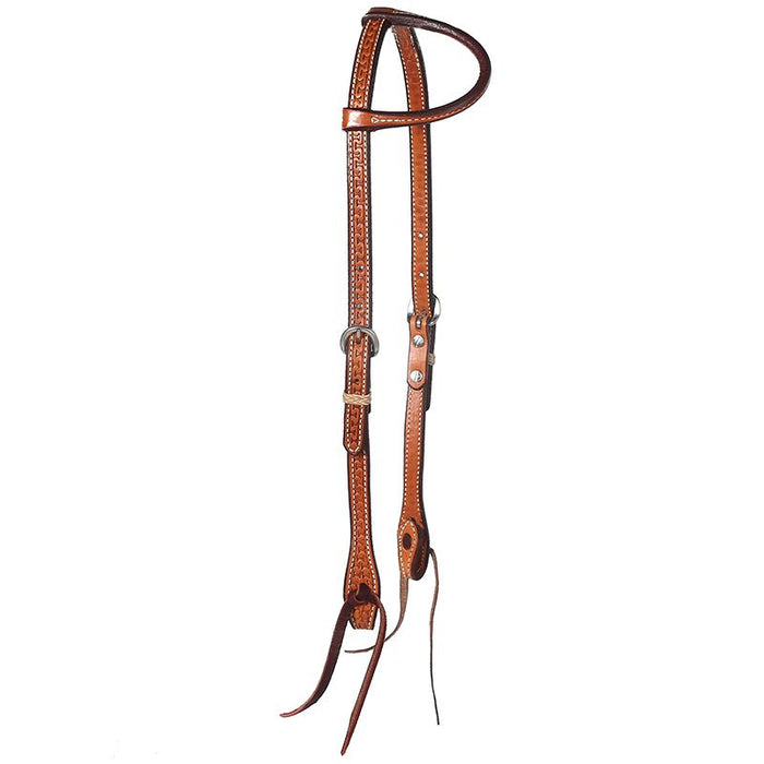 Running W Tooled Single Ear Headstall  with Tie Bit Ends