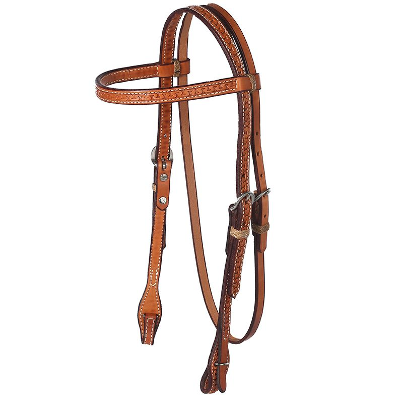 Running W Oiled Browband Headstall with Quick Change Ends