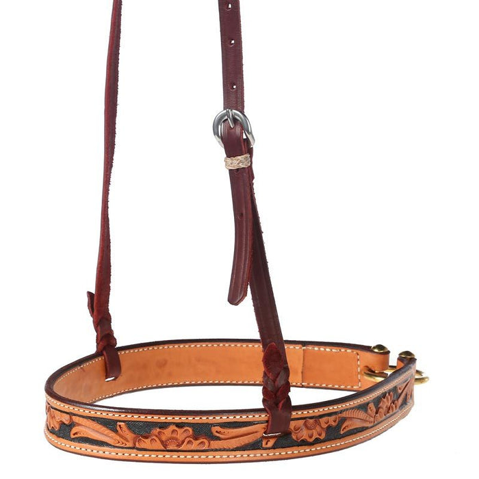 Floral Tooled Noseband with Handpainted Black Background