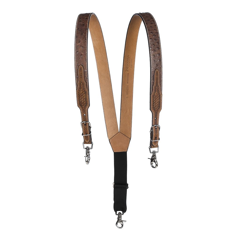 Men's M&F Western Gallus Ostrich Print Tan Suspenders