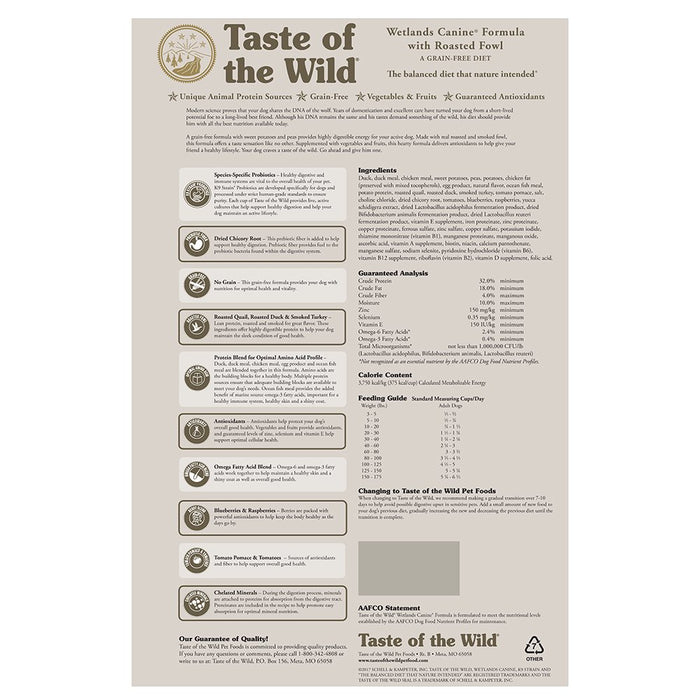 Taste of the Wild Wetland Wild Fowl 28lb