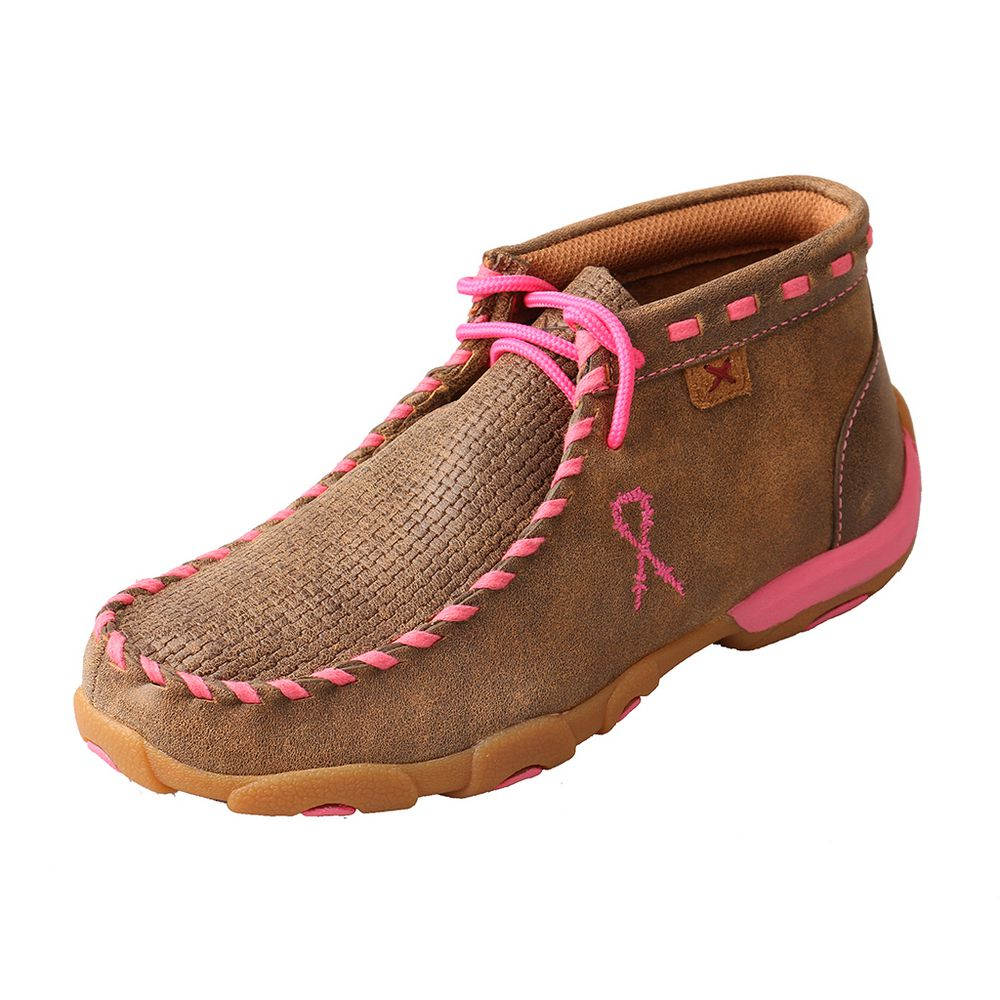 Girl's Twisted X Breast Cancer Awareness Bomber Brown Patchwork Moccasin