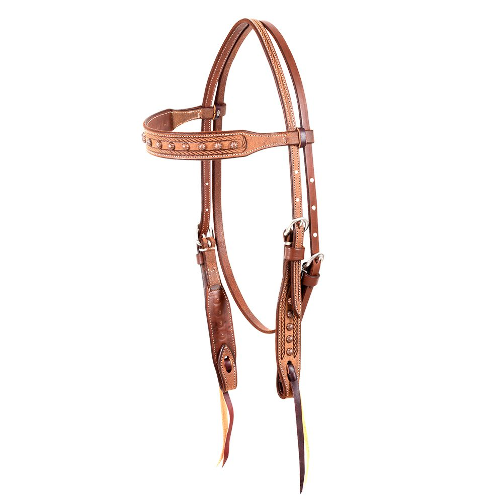 Rope with Copper Dots Browband Headstall