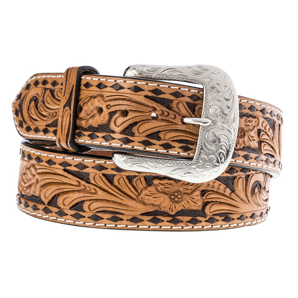Men's Twisted X Tan Floral Brown Buckstitch Belt
