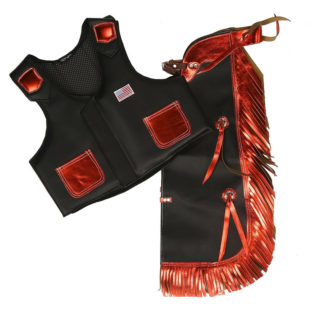 Faux Leather Kids Chap and Vest Combo