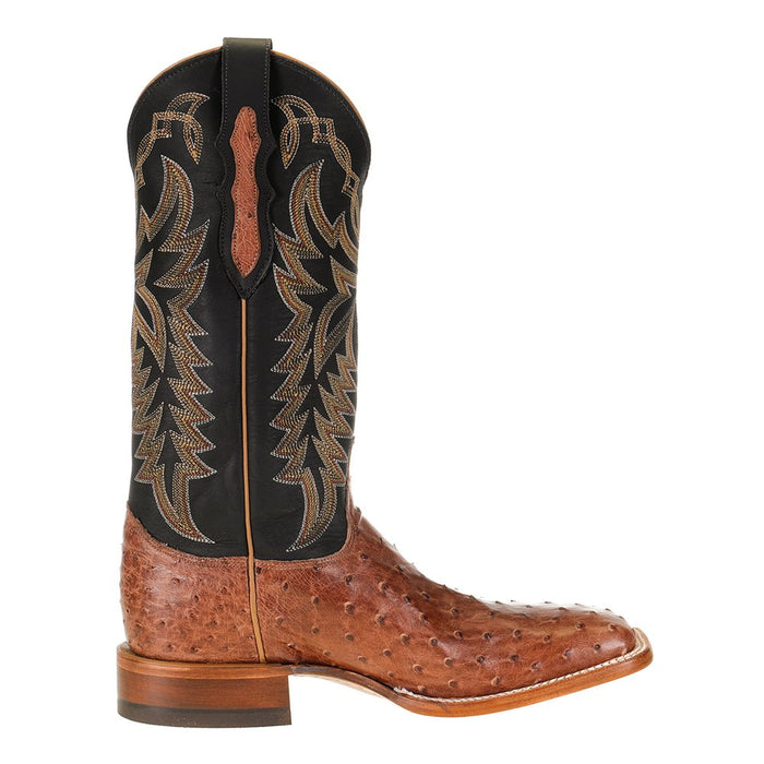 Men's Justin Pascoe Rum Brown Full Quill Ostrich 13in. Black Chester Top Cowboy Boot