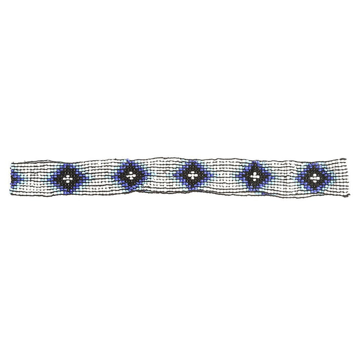 "Austin Accent 7/8"" Beaded Stretch Diamond Blue/White Hat Band"