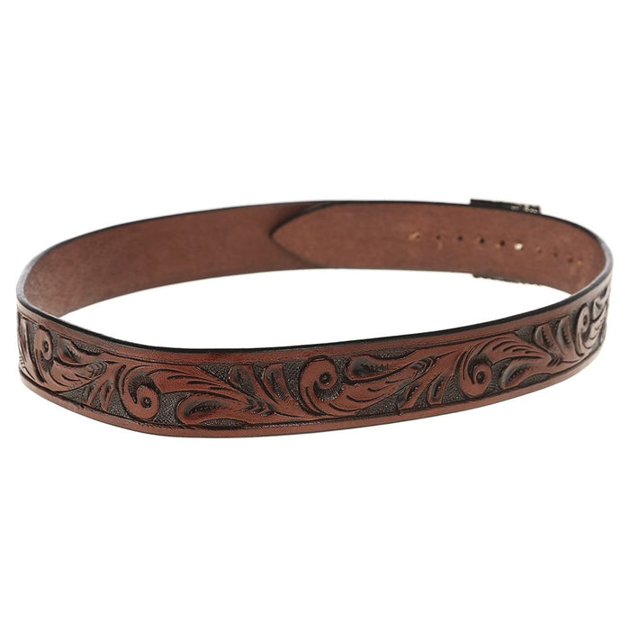 "Austin Accent 1"" Brown Leather Scroll W/Buckle Hat Band"