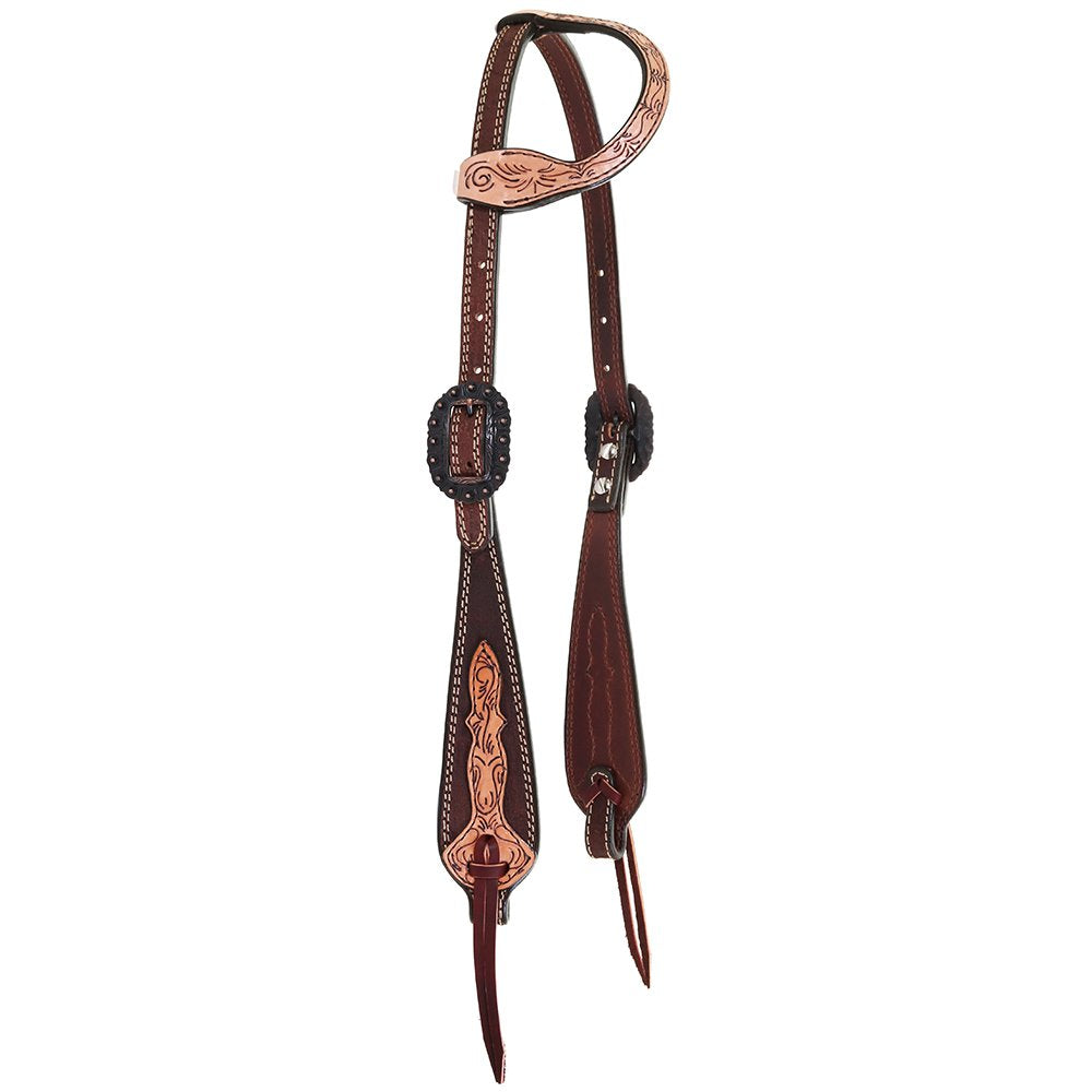 Double J Saddlery Single Ear Chocolate Roughout with Tooled Cheek and Ear Headstall