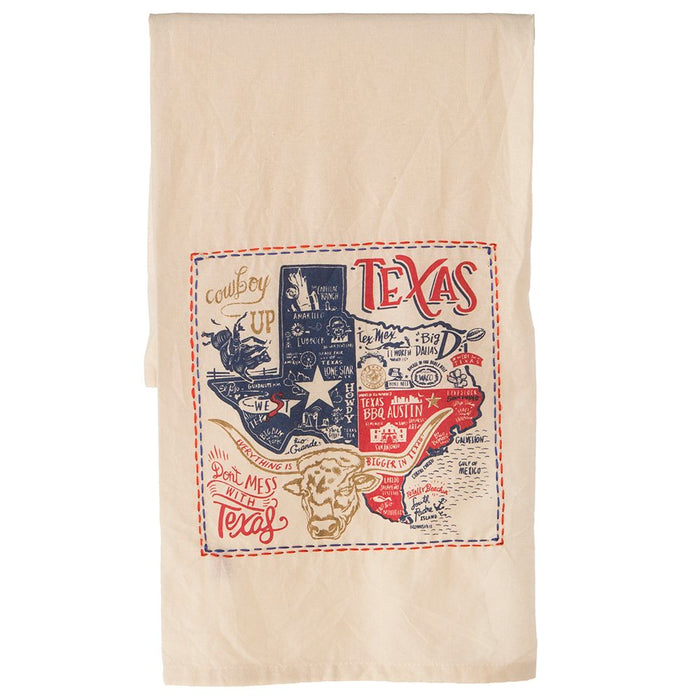 Texas State Embroidered Dish Towel