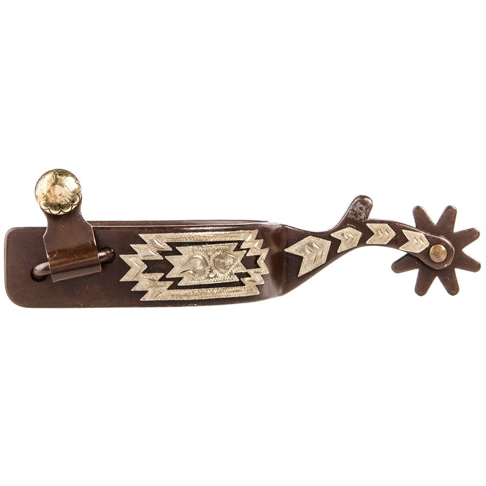 Weaver Men's Antiqued Spur With Engraved German Silver Aztec Design