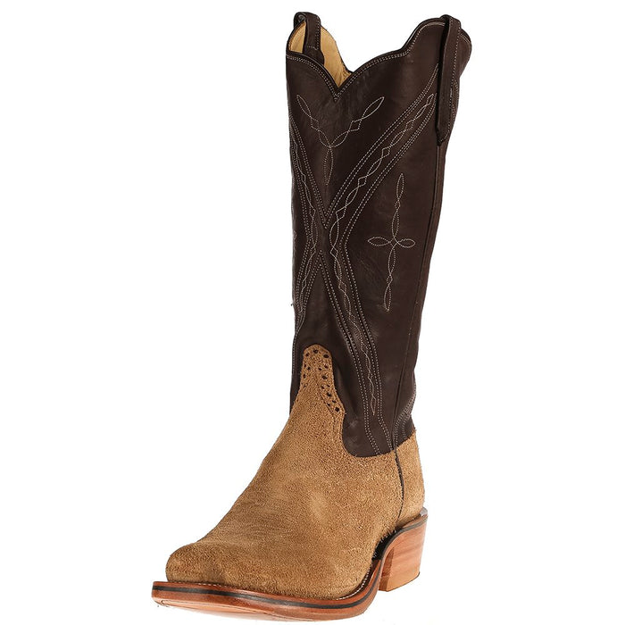 Men's NRS Ride Ready Rios of Mercedes Tan Crazy Horse Roughout Chocolate Remuda Top Boots