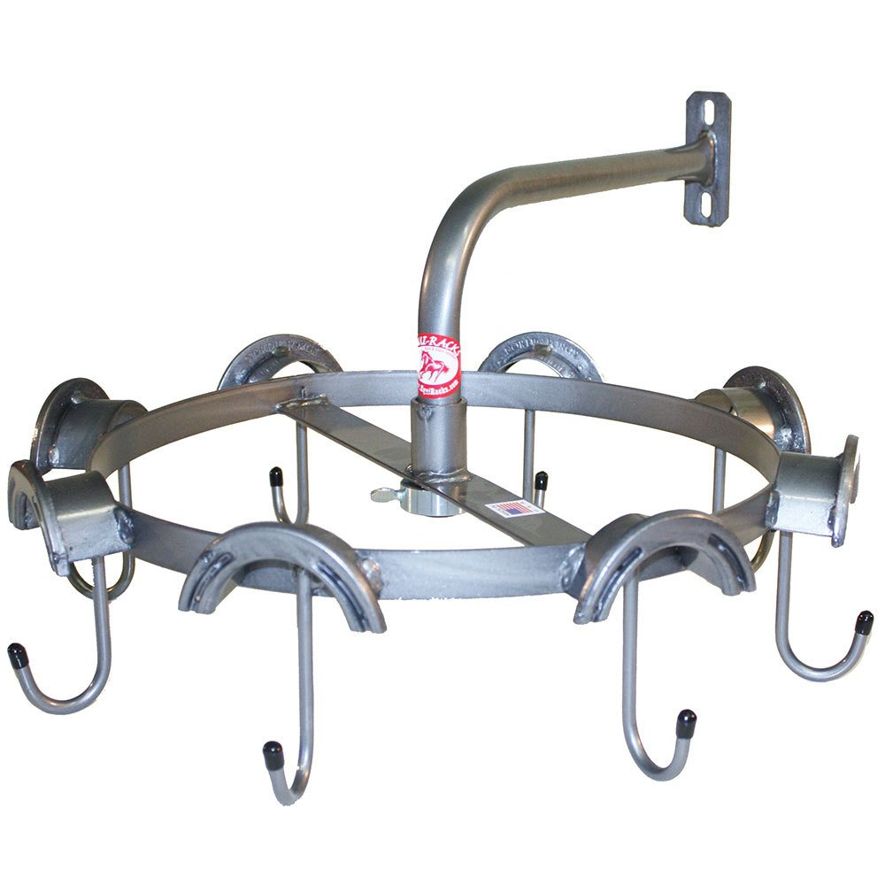 CMW 8 Rounded Top and 8 J Hooks Rotary Headstall Rack