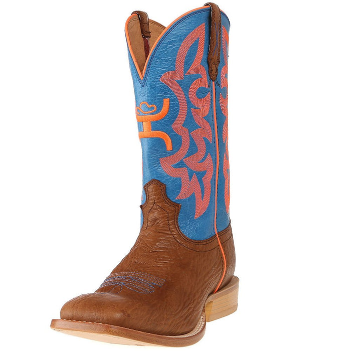 "Men's Hooey by Twisted X Cognac Bullhide 12"" Neon Blue Top Cowboy Boots"