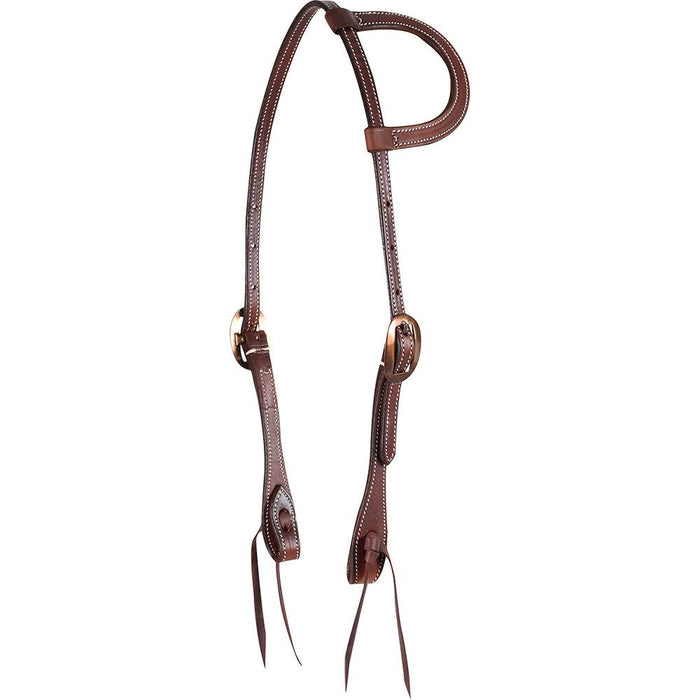 Martin Saddlery Chocolate Skirting Leather Slip Ear Headstall with Heat Colored Buckles