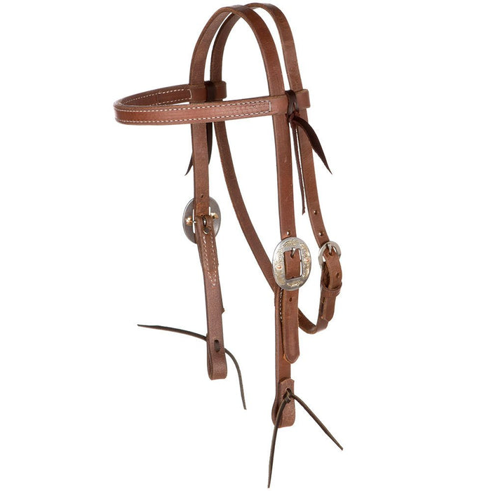 NRS Tack Buckaroo Series Browband Oiled Headstall with Floral Cart Buckles