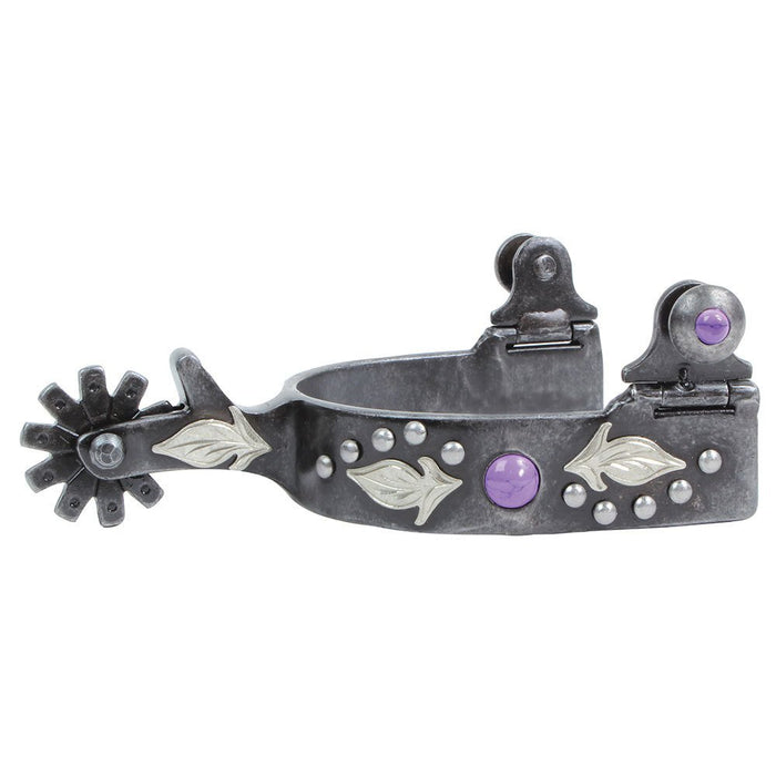 Professional's Choice Purple Dot and Feather Youth Spurs