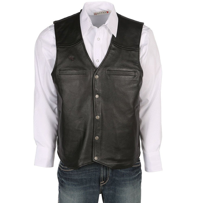 Mens Black Dovers Leather Concealed Leather Vest