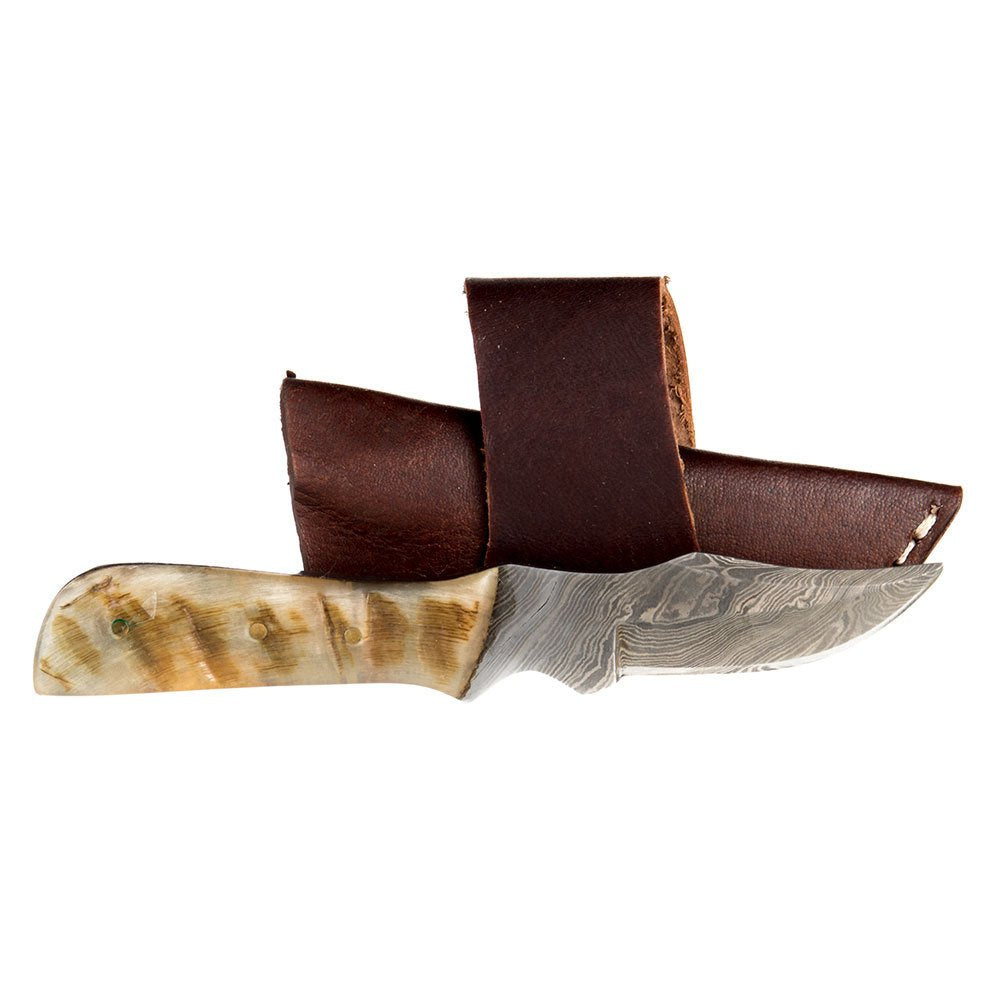 Damascus Mini Ram Horn Bone Handle Knife w/Sheath