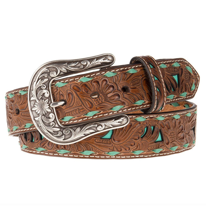 "Ladies 1.5"" Belt with Turquoise Underlay and Buckstitch"