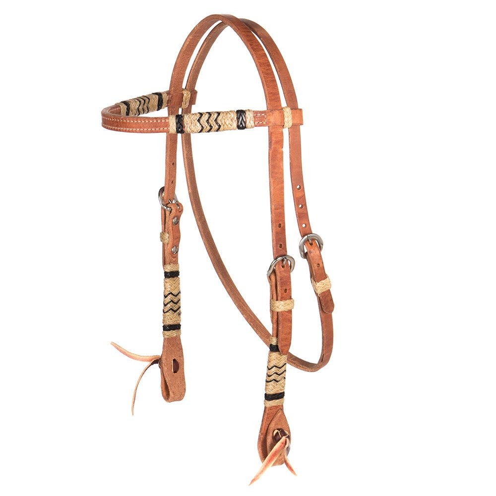 Harness Leather and Rawhide Browband Headstall