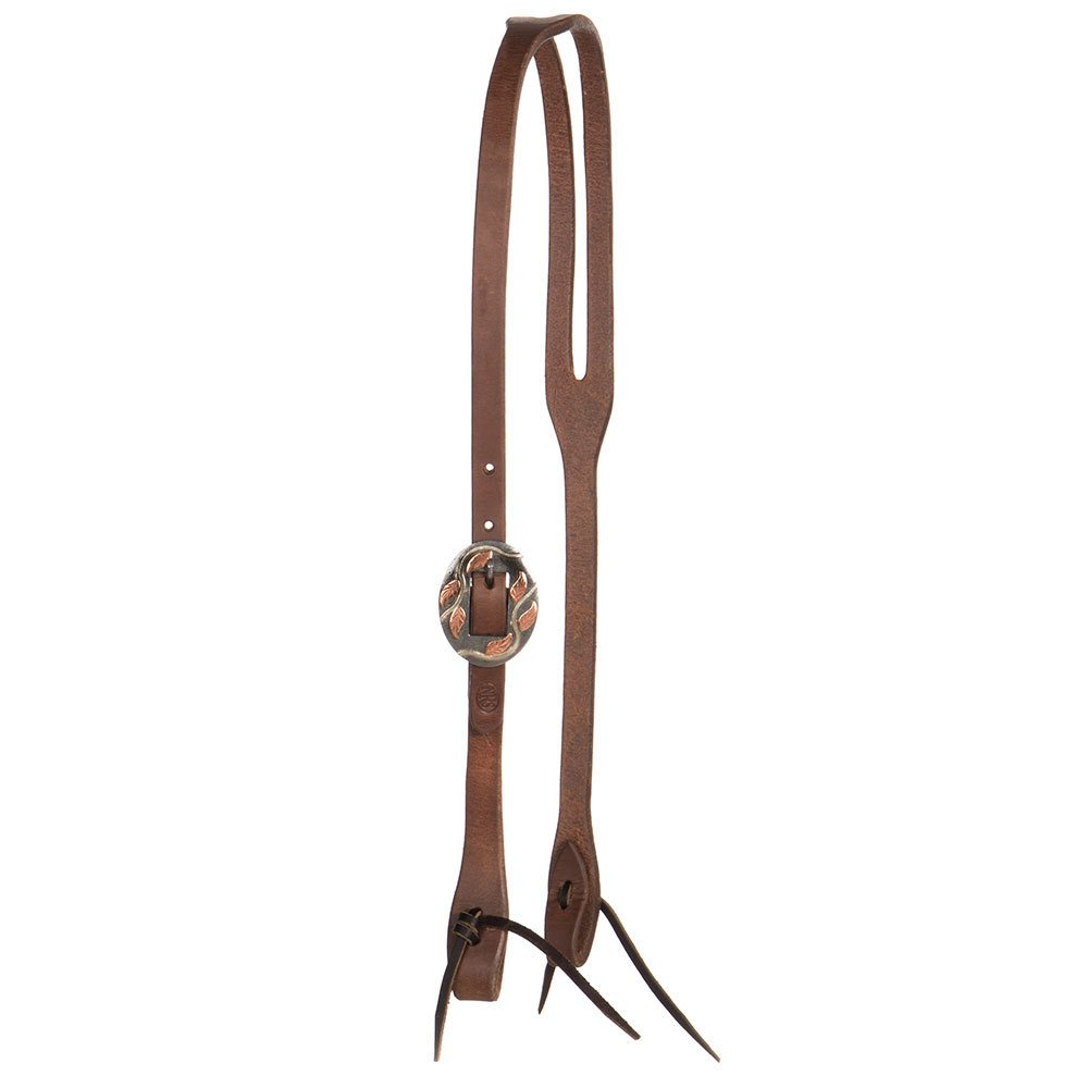 "5/8"" Oiled Slot Ear Headstall with a Vine Buckle"