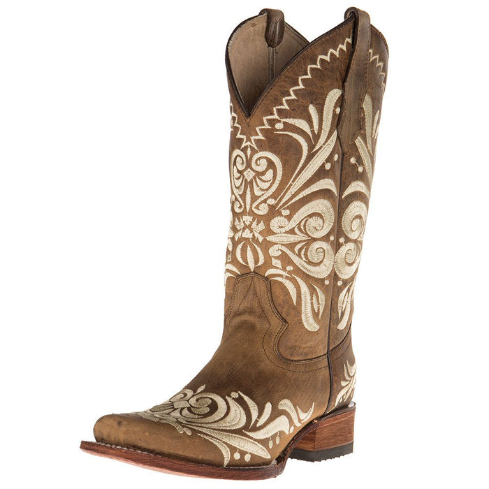 Ladies Tan Embroided Square Toe Boots
