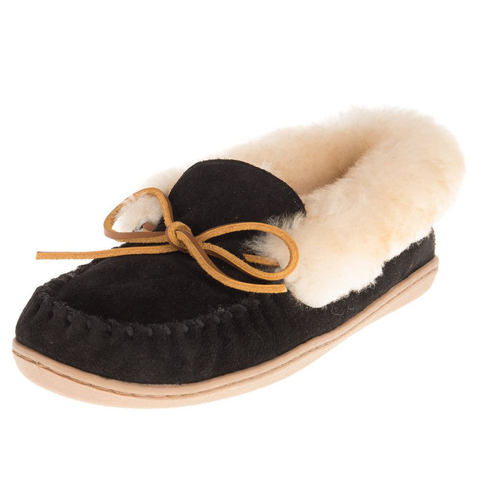 Ladies Alpine Sheepskin Black Moccasin
