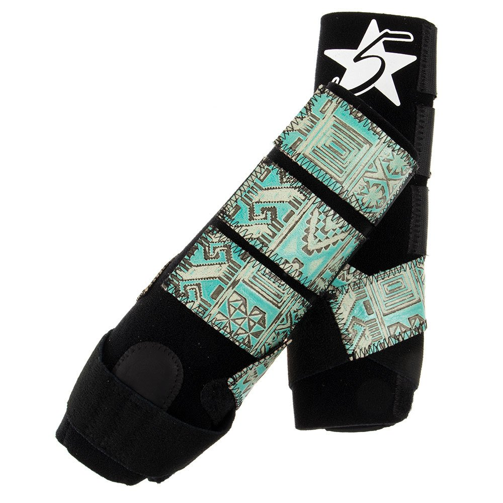 5 Star Patriot Front Splint Boots with Turquoise Indiano Pull Tabs