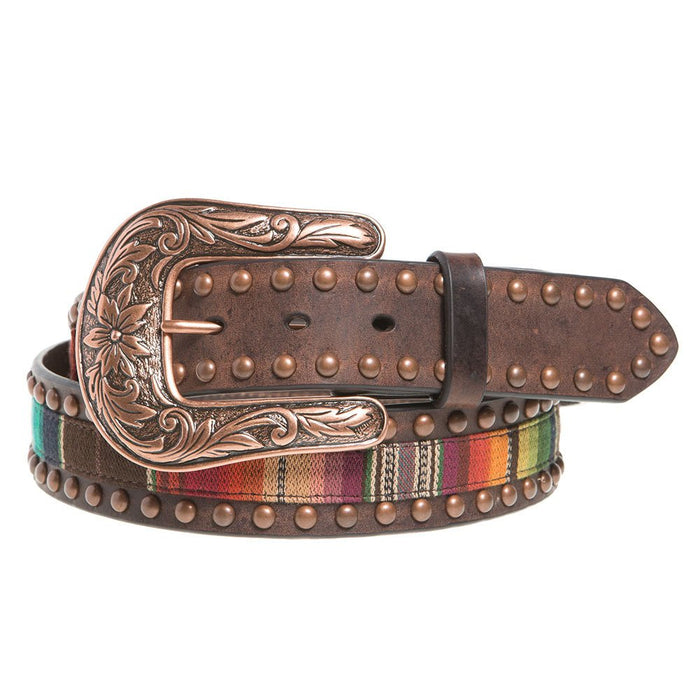 "Ladies 1.5"" Serape Brown Leather Belt with Copper Studs"