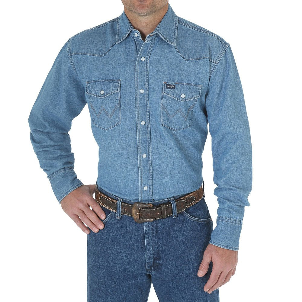 Men's Wrangler Light Denim Snap Shirt