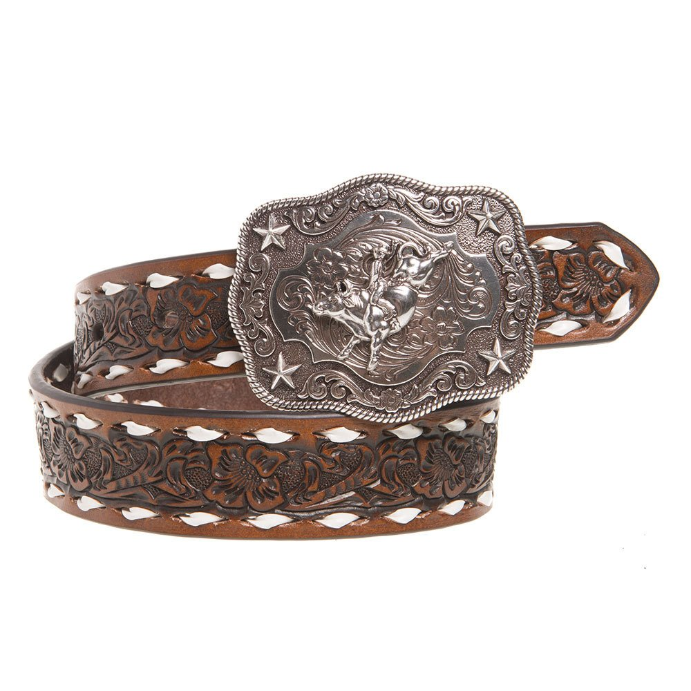 Boys Brown Floral Tooled Belt with Buckstitching and Buckle