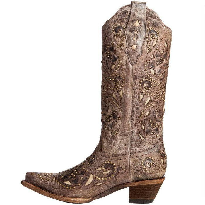 Women's Corral Brown Crater Bone Inlay Studded Cowgirl Boots
