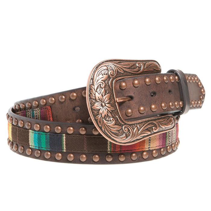 Ladies 1.5in. Serape Brown Leather Belt with Copper Studs