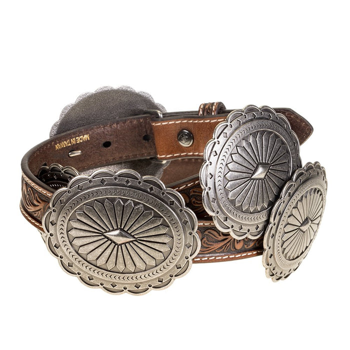 Women's Brown Tooled Leather Concho Belt
