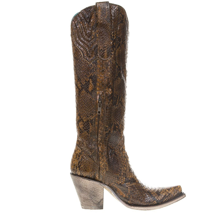 Women's Tan Full Python 15' Snip Toe Boots