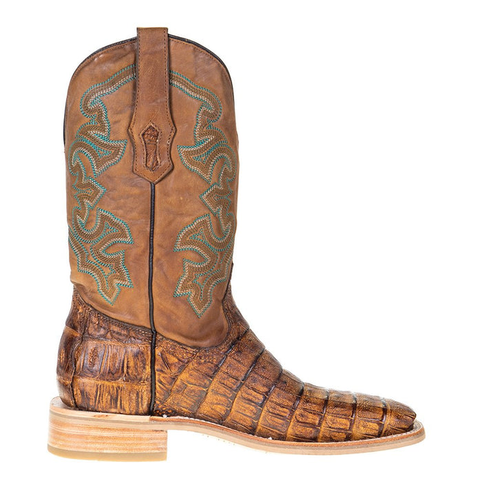 Men's Corral Rodeo Performance Antique Saddle Caiman 12in. Tan Embroidery Top