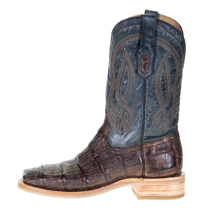 Men's Corral Rodeo Performance Chocolate Caiman 12in. Blue Embroidery Top Square Toe