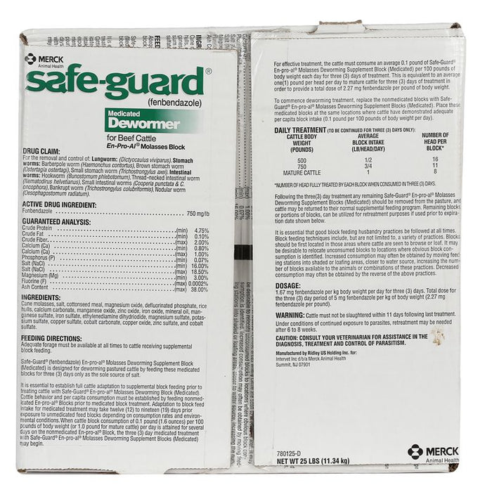 Merck Safe-Guard Medicated Dewormer Block 25 lb