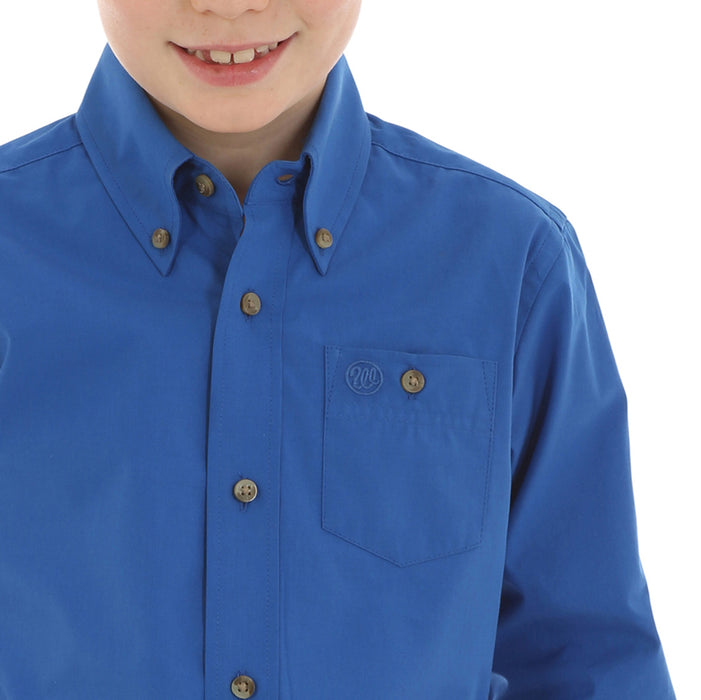 Boys Wrangler Solid Blue Long Sleeve Button Up Shirt