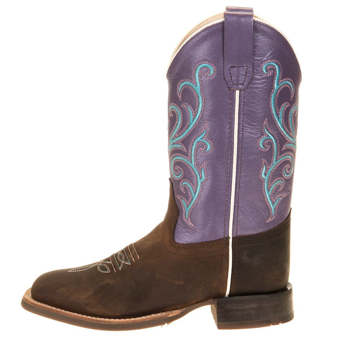 Kids Old West Purple Top Brown Foot Cowgirl Boots