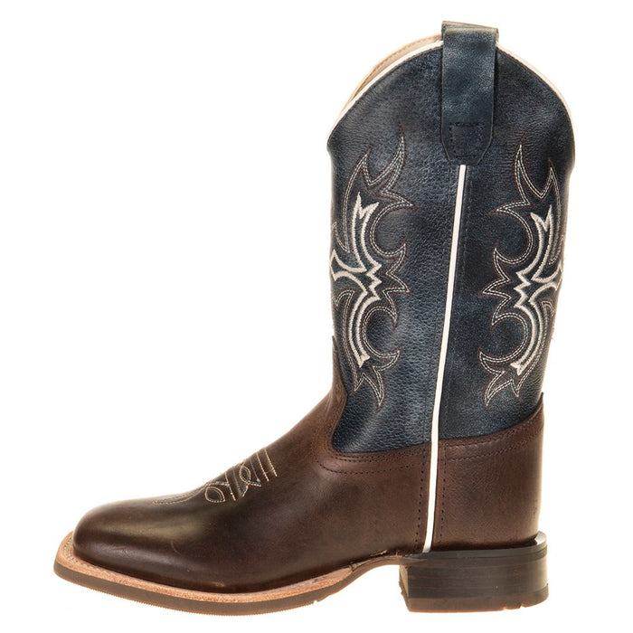 Youth Old West Wipe Out Blue Shaft Brown Foot Cowboy Boots